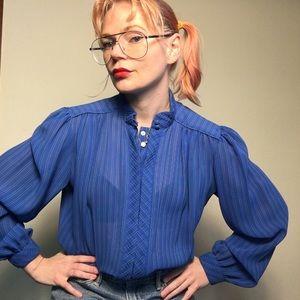 Vintage 1980s long sleeve blue striped blouse